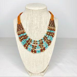 Southwest Turquoise Stone Bib Necklace